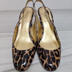 J Crew leopard patent leather slingbacks size 8